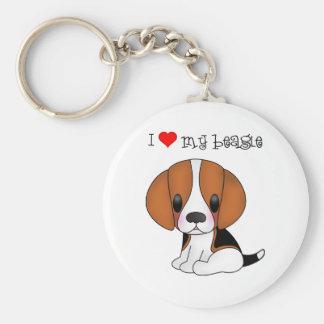 I Heart My Beagle Keychain