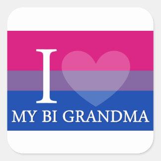 I Heart My Bi Grandma Square Sticker