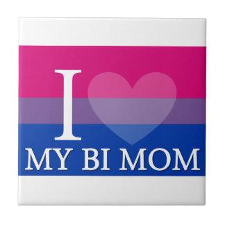 I Heart My Bi Mom Small Square Tile