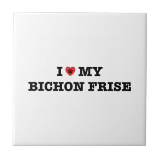 I Heart My Bichon Frise Ceramic Tile