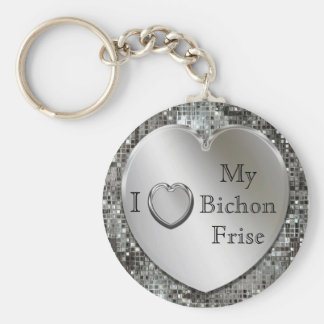 I Heart My Bichon Frise Silver Heart Keychain