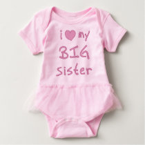 I Heart My Big Sister Love Baby Bodysuit