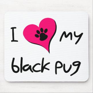 I heart my Black Pug Mouse Pads