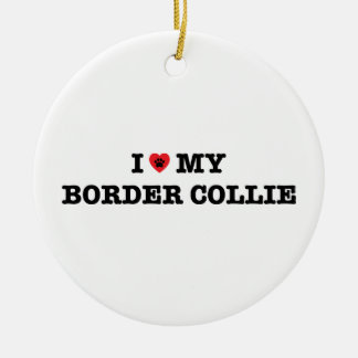I Heart My Border Collie Ceramic Ornament