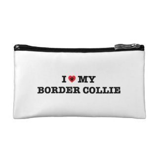 I Heart My Border Collie Cosmetic Bag
