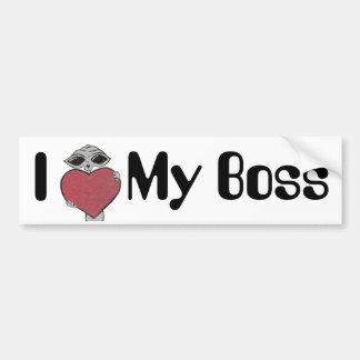 I Heart My Boss Alien Bumper Sticker