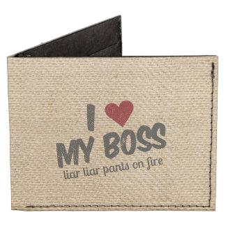 I Heart My Boss Liar Liar Pants on Fire Burlap Billfold Wallet