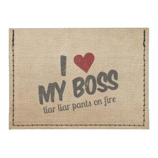 I Heart My Boss Liar Liar Pants on Fire Burlap Tyvek® Card Wallet