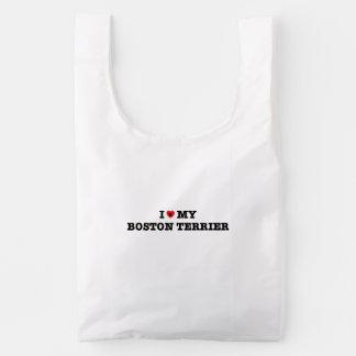 I Heart My Boston Terrier Baggu Reusable Bag