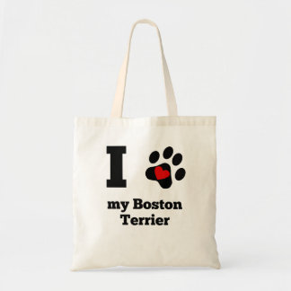 I Heart My Boston Terrier Budget Tote Bag