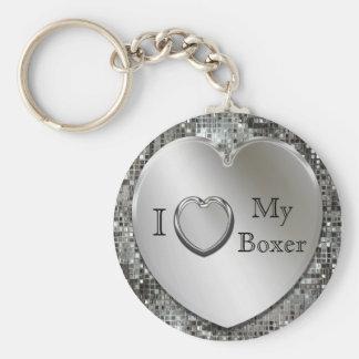 I Heart My Boxer Heart Keychain
