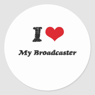 I heart My Broadcaster Round Stickers