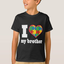 I Heart My Brother Autism Puzzle Piece Heart T-Shirt