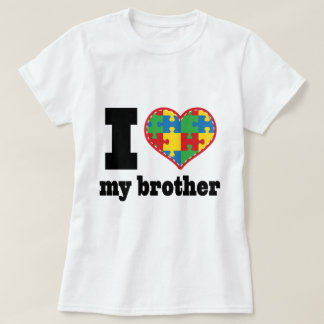 I Heart My Brother Autism Puzzle Piece T-Shirt