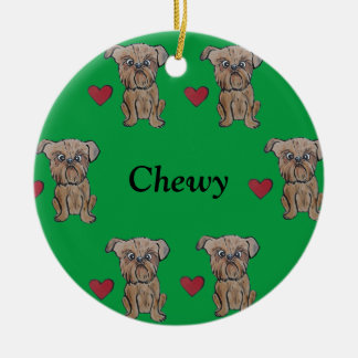 I heart My Brussels Griffon Customize Name Ceramic Ornament