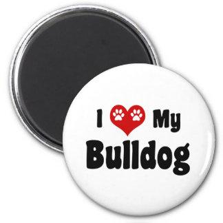 I Heart My Bulldog 2 Inch Round Magnet