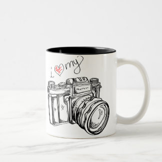I Heart my Camera Black and White Coffee Cup Two-Tone Coffee Mug
