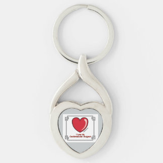 I Heart My Cardiovascular Surgeon Silver-Colored Heart-Shaped Metal Keychain