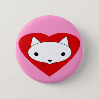 I heart my cat pink button pinback