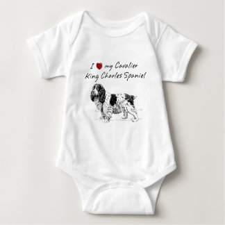 """I ""heart"" my Cavalier King Charles spaniel""! Baby Bodysuit"