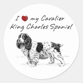 """I ""heart"" my Cavalier King Charles spaniel"" Classic Round Sticker"