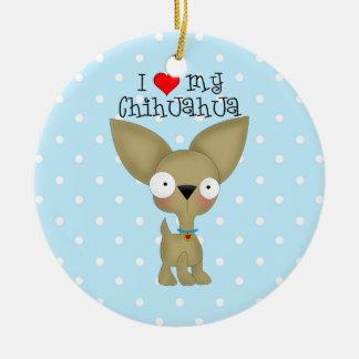 I Heart My Chihuahua Ceramic Ornament
