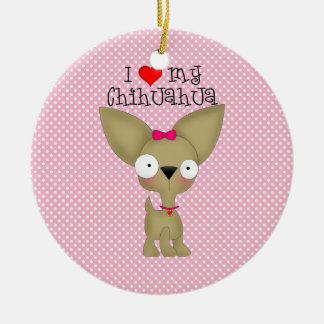 I Heart My Chihuahua, Girl Ceramic Ornament