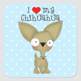 I Heart My Chihuahua Square Sticker