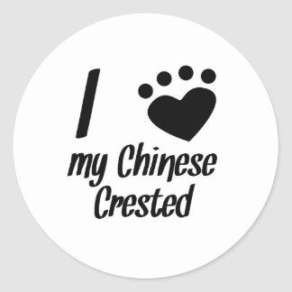 I Heart My Chinese Crested Round Stickers