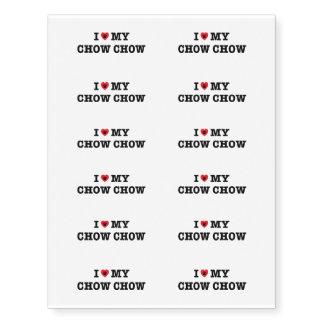 I Heart My Chow Chow Temporary Tattoos