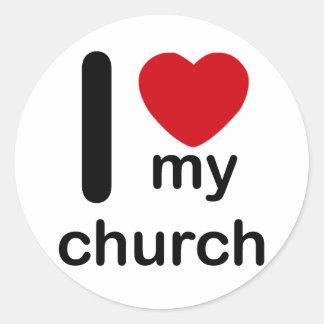 I Heart My Church Classic Round Sticker