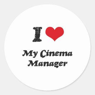 I heart My Cinema Manager Round Stickers
