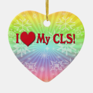 I Heart My CLS CLINICAL LABORATORY SCIENTIST Ceramic Ornament