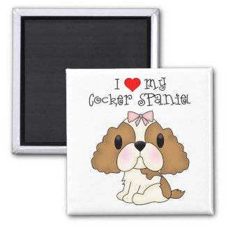 I Heart My Cocker Spaniel 2 Inch Square Magnet