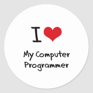 I heart My Computer Programmer Round Stickers