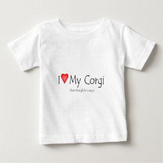 I heart my corgi (even though he's crazy) baby T-Shirt