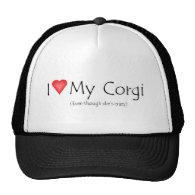 I heart my corgi (even though she's crazy) mesh hat