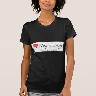I heart my corgi (even though she's crazy) T-Shirt
