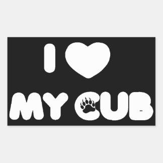 I Heart My Cub Rectangular Sticker
