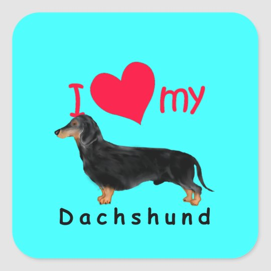 I Heart My Dachshund Square Sticker
