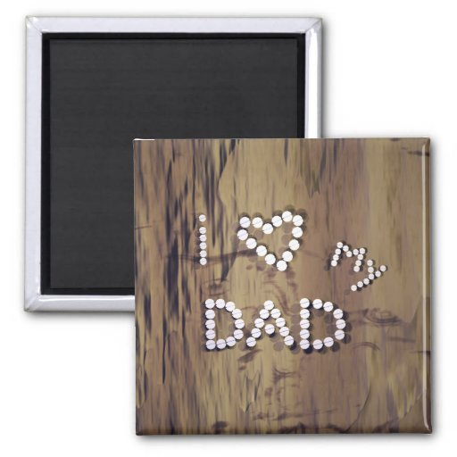 I Heart My Dad on Wood Graphic 2 Inch Square Magnet