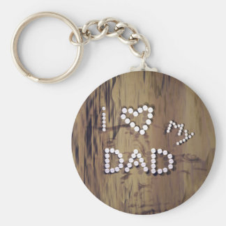 I Heart My Dad on Wood Graphic Basic Round Button Keychain
