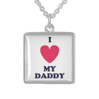 I Heart My Daddy Sterling Silver Necklace