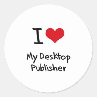 I heart My Desktop Publisher Round Sticker