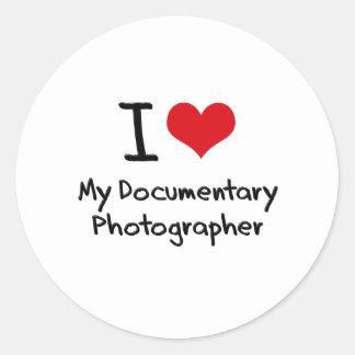 I heart My Documentary Photographer Classic Round Sticker