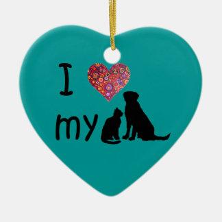 I heart my Dog & Cat Double-Sided Heart Ceramic Christmas Ornament