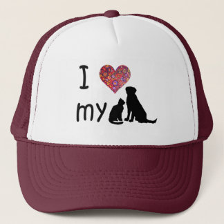 I heart my Dog & Cat Trucker Hat