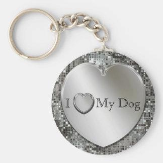 I Heart My Dog Silver Heart Keychain
