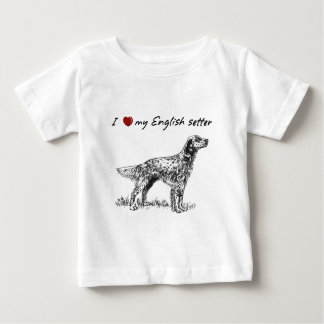 """I ""heart"" my English setter"" with dog graphic Baby T-Shirt"