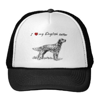 """""""I """"heart"""" my English setter"""" with dog graphic Trucker Hat"""
